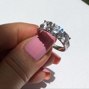 14k white gold wedding 3 stone diamond ring 3 CT